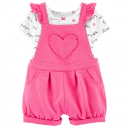 ست تی شرت و سرهمی نوزادی کارترز طرح Heart کد M507