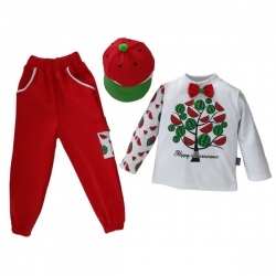 ست ۳ تکه لباس مدل یلدا کد ۱۱۴۲ رنگ قرمز