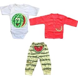 ست ۳ تکه لباس نوزادی پسرانه طرح هندوانه