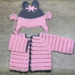 ست ژاکت و کلاه بافتنی نوزادی مدل میکی موس