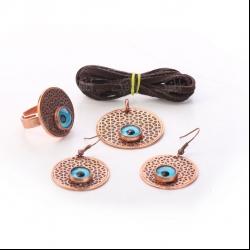 ست زیورآلات دست ساز زنانه آرانیک مدل مسی طرح چشم زخم کد 1524000002