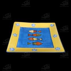 سینی سفالی نقاشی زیر لعابی  آرانیک رنگا آرانیک رنگ طرح ماهی مدل 1000900014