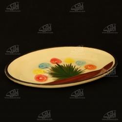 سینی سفالی نقاشی زیر لعابی  آرانیک رنگ کرمی طرح گل مدل 1000900005