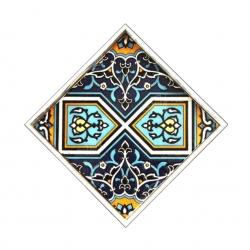 سینی و دیس چوبی مربع کاشی  رنگ سفید طرح اسلیمی مدل 1001100004