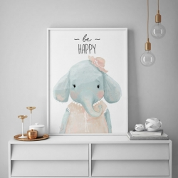 تابلو اتاق کودک سالی وود طرح فیل خوشحال کد T170201