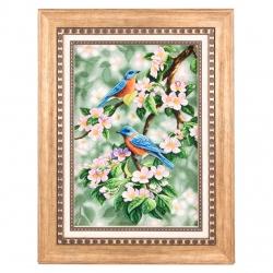 تابلو فرش دستباف دو پرنده و شکوفه بهاری برجسته سی پرشیا کد 901594