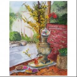 تابلو نقاشی آبرنگ طرح حیاط قدیمی