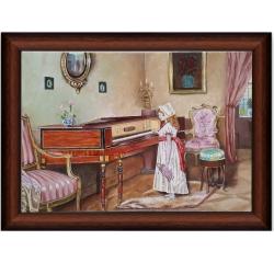 تابلو نقاشی رنگ روغن کلاسیک طرح پیانو و دختر کد 269