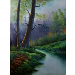 تابلو نقاشی رنگ و روغن طرح منظره پس از باران