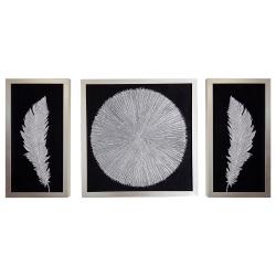 تابلو نقاشی ورق نقره مدل نور و پر مجموعه 3 عددی