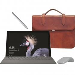 تبلت مایکروسافت مدل Surface Pro 2017 – F به همراه کیبورد و قلم و ماوس 2017  رنگ پلاتینیوم و کیف چرم صنوبر  – ظرفیت 1 ترابایت