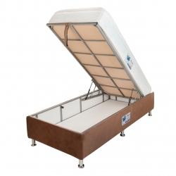 تخت خواب یک نفره آسایش باکس مدل AKA128 سایز 200 × 120 سانتی متر به همراه تشک طبی فنری یک طرف پد