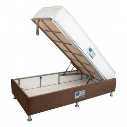 تخت خواب یک نفره آسایش باکس مدل AKA130 سایز 200 × 120 سانتی متر به همراه تشک طبی فنری دو طرف پد