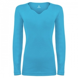 تی شرت آستین بلند زنانه ساروکمدل SZYDelFR07 رنگ فیروزه ای