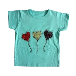 تی شرت آستین کوتاه دخترانه مدل بادکنک-002