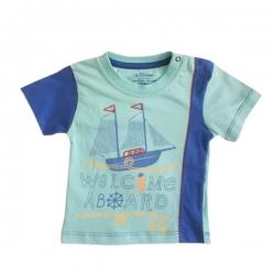 تی شرت آستین کوتاه نوزادی عزیز ب ب مدل قایق کد 2744