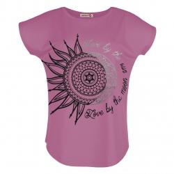 تی شرت زنانه افراتین طرح ماه و خورشید کد 2548 رنگ صورتی