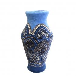 قالی سه بعدی دستباف فرم گلدان طرح سر ترنج رنگ آبی  مدل 1414200001