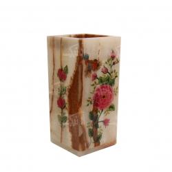 گلدان سنگ مرمر    صورتی طرح گل و مرغ  مدل 1016000004