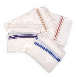 حوله دست و صورت آرانیک پنبه ای دستباف رنگ سفید طرح مانا  مدل 1714000013