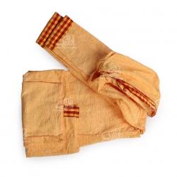حوله تن پوش پنبه ای دستباف رنگ زرد طرح چارخونه مدل 1714000018
