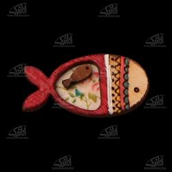 سنجاق سینه چوبی رنگ آمیزی  طرح ماهی مدل 1512500004