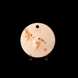 تخته سرو آرانیک گرد سفالی نقاشی زیر لعابی رنگ سفید طرح پرنده مدل 1009600001