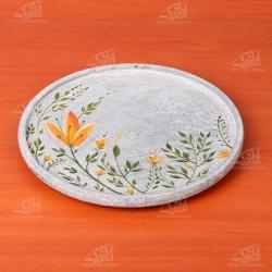 تخته سرو آرانیک گرد سنگی نقاشی رنگ خاکستری طرح گلزار مدل 1009600005