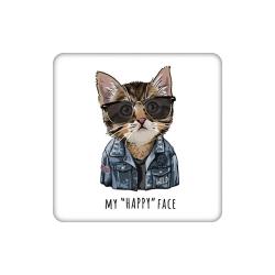 زیر لیوانی طرح گربه مدل my happy face کد 4142563